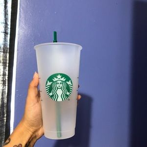 Clear reusable Starbucks cup